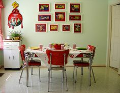 One of my longtime favorite inspiration pics; I have a thing for red and green in the kitchen. I want that Sherwin-Williams sign so badly!
