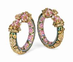 A PAIR OF DIAMOND AND RUBY ENAMELLED GOLD CHILD'S BANGLES, Benares, North India, 19th Century