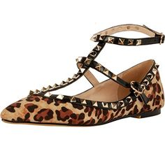 Calaier Womens Caforty Elegant Girls Designer Luxury Fashion Leopard Print T Strap Rivet Studded Ankle Strap Pointed Toe 05CM Flat Buckle Flats Multicoloured 8 BM US * Details on product can be viewed by clicking the image