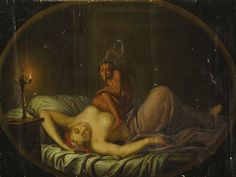 """The original definition of the disorder sleep paralysis was codified as a nightmare by Samuel Johnson in his book """"A Dictionary of the English Language"""". Sleep paralysis was widely considered to be the work of demons, and more specifically an incubus, which was thought to sit on the chests of sleepers. In Old English the name for this being was mare or mære (from a proto-Germanic *marōn, cf. Old Norse mara), hence comes the mare part in nightmare."""