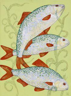 Anneke Dekkers. Blankvoorn  Een heel klein visje die op deze afbeelding in zijn eigen tekst zwemt. De tekst wordt gevormd door de waterplanten, de tekst gaat over de blankvoorn.