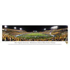 Worldwide Blakeway Panoramas West Virginia Football 'Stripe End Zone' Framed Print