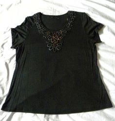 NEW LADIES BLACK EVENING TOP WITH SEQUINS BY BM SIZE 18