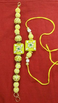 Thread Jewellery, Diy Jewellery, Gold Jewelry, Jewelry Necklaces, Rakhi Bracelet, Handmade Rakhi Designs, Rakhi Making, Rakhi Online, Mehandi Designs