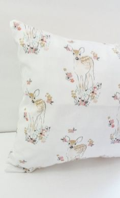 Fawn Pillow Cover- Pink Baby Deers and Floral Print-Woodland And Shabby Chic