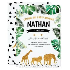 Jungle baby shower invitation Gold Animals - Brighten your day with a giraffe. Such a beautiful creature! Invitation Baby Shower, Baby Shower Invites For Girl, Baby Shower Themes, Invitation Birthday, Jungle Theme Baby Shower, Wild One Birthday Invitations, Lion Baby Shower, Elephant Baby Showers, Baby Elephant