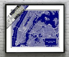 New York City Blueprint Map Poster Art Print Several Sizes Available Version 2