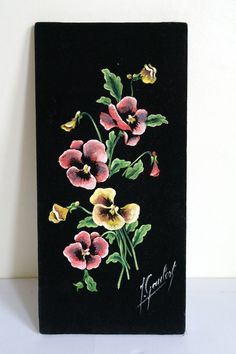 Vintage Velvet Hand Painted Pansy Wall by alltheseprettythings
