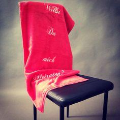 WILLST DU MICH HEIRATEN?  Bestickte Handtücher für außergewöhnliche Heiratsanträge ;-) Made by diemoj