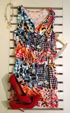 Nicole Miller dress, Chinese Laundry pumps at Kiskadee