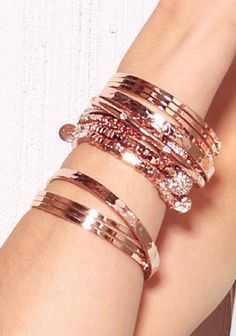 """Park Lane Jewelry hottest trends in fashion~Rose Gold & """"Arm Candy""""~Layer those bracelets up!!! www.myparklane.com/jpanicola"""