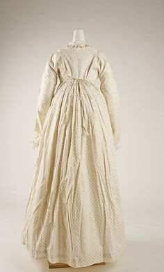 Morning dress Date: 1815–18 Culture: British Medium: cotton Dimensions: Length at CB: 55 in. (139.7 cm)
