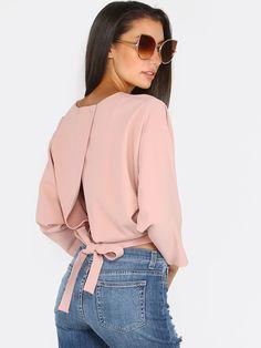 Pink+Tie+Back+Wide+Sleeve+Blouse+18.90