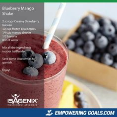 blueberry-mango-shake Lisa Stevenson will show you how to use your Isagenix Products to create amazing Isagenix shakes and other Isagenix recipes to tempt your taste buds and help you achieve your weight loss goals Protein Shake Recipes, Protein Shakes, Snack Recipes, Drink Recipes, Isagenix Snacks, Natural Protein Powder, Smoothie Drinks, Smoothies, Natural Yogurt