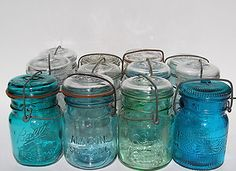 12 Different 1908 Patent Glass Top Pint Mason Jars Antique Canning Lot Ball Rare