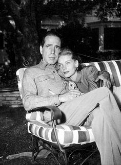Humphrey Bogart and Lauren Bacall at their Benedict Canyon home, CA, circa 1945.