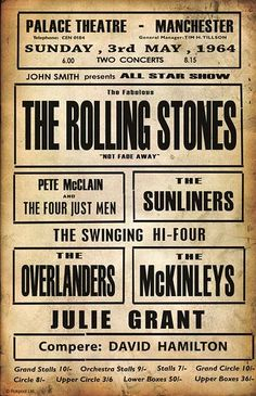 The Rolling Stones – Manchester; 3 May 1964 Pop Posters, Band Posters, Concert Posters, Music Posters, Julie Grant, Rolling Stones Tour, Old Music, Music Music, Star Show