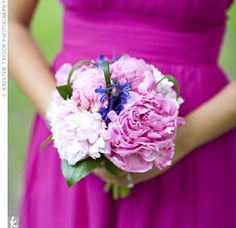 light shades of pink with fuchsia dress. I think I would like a softer purple and less green