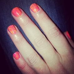 Neon marbled nails