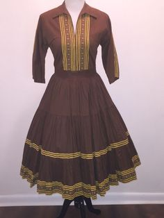 Vtg 50s Thinderbird Fashions Fiesta Patio Skirt Dress Circle Skirt Flawless