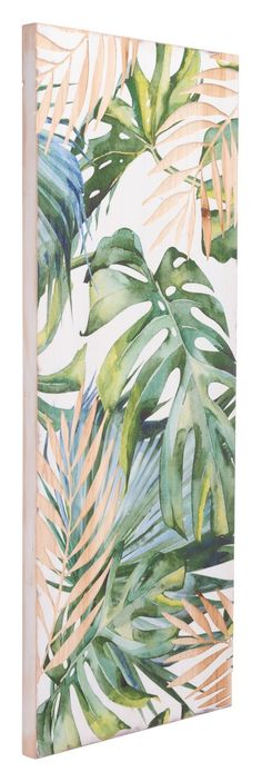 Tropical flair creates a warming trend in any home. A lush, rich painting on a wood panel will fill an empty wall to create a stunning focal point. A fresh, artistic approach in your entry, living room or master bathroom. - Product Dimensions: 15.7''W x 1.2''D x 39.4''H - Product Weight: 5 lb - Product Color: Green - Product Material: Fir Wood & MDF
