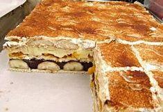 Nepečený dezert z BB sušenek, dětských piškotů, vanilkového a čokoládového pudinku, šlehačky, zakysané smetany .... banánů a kompotovaných mandarinek, ozdobený kakaem, nebo nastrouhanou čokoládou či grankem, servírovaný nakrájený na jednotlivé řezy.