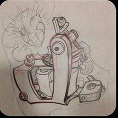 Gun Tattoos, Skull Tattoos, Body Art Tattoos, Tattoo Sketches, Tattoo Drawings, Drawing Sketches, Dibujos Tattoo, Desenho Tattoo, Von Dutch