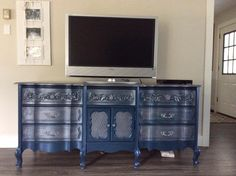 Gorgeous dresser turned entertainment stand using Superior Paints and Modern Masters Metallic Paints - By The Refinish Line located in Grand Forks BC - Superior Retailers Grand Forks, Entertainment Stand, Modern Masters, Metallic Paint, Something To Do, Health Care, Things I Want, Dresser, Lisa