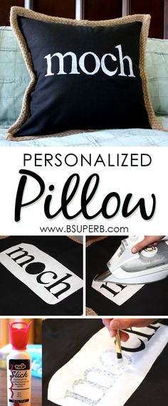 Personalized pillow made with freezer paper - great gift idea