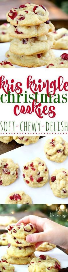 Rich and buttery Kris Kringle Christmas Cookies are dressed for the holidays with creamy white chocolate chips and sweet dried red cranberries. Seriously, the BEST Christmas cookies!
