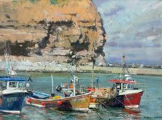 Moorings in the Outer Harbour, Staithes, UK by David Curtis.