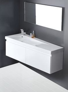 The Grandangolo 1300mm Trapezial wall basin by Hatria in Italy. On display in the Galvin Design Gallery. For more bathroom ideas and inspiration please visit www.perthbathroompackages.com.au