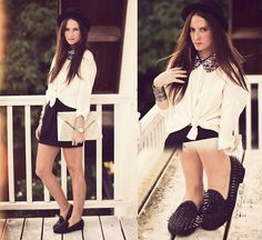 GLITTER COLLAR AND SPIKE LOAFERS (by Melanie Winter) http://lookbook.nu/look/3108743-GLITTER-COLLAR-AND-SPIKE-LOAFERS