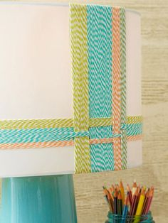 Woven Shade - bakers twine is perfect to spruce up this lampshade, without it being permanent.
