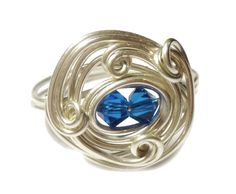 Wire Wrapped Sterling Silver Swarovski Crystal Sapphire Ring  $20.00