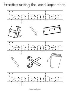 Practice writing the word September Worksheet - Twisty Noodle September Kids Crafts, September Preschool, September Activities, Preschool At Home, Preschool Classroom, Preschool Activities, Calendar Worksheets, Pre K Worksheets, Kindergarten Worksheets