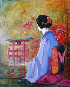 ''Geisha'' Georges Corominas Japanese Art Styles, L'art Du Portrait, Art Chinois, African Paintings, Art Asiatique, Japon Illustration, Japanese Photography, Art Japonais, Art Thou