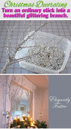 Holiday Decorating Video: Making Sparkly Branches Smart Health Talk Pick: Low cost way to make something that can add something special to a room. Use a small branch, hang on wall and add other decorations to hang on it such as garland or small bulbs. Noel Christmas, All Things Christmas, Winter Christmas, Christmas Ornaments, Outdoor Christmas, Christmas Tree On Wall, Christmas Quotes, Hanging Ornaments, Christmas Pictures