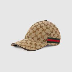 08bd21b87ae3b Original GG canvas baseball hat with Web in Beige ebony Original GG fabric  with green