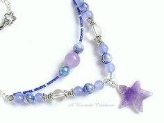 Pastel Beaded Jewelry / Beaded Necklace with by ARexrodeCreations