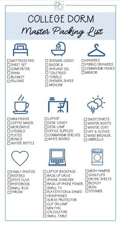 College dorm master packing list to help you prepare for and buy what is needed for a freshman's door room. Organized by category and printable to take with you shopping for dorm room supplies. dorm room decor What You Need for College Dorm Life College Dorm List, College Dorm Checklist, College Dorm Essentials, College Dorm Rooms, College Humor, College Dorm Necessities, Dorm Room List, College Board, College Must Haves