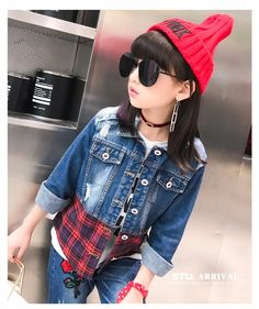6018e02ba37bb F166130#2017 Hot New Products Denim Jacket Sequin Flowers Fight Plaid  Clothes Boutique Girl Clothing