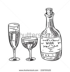 sketchy illustration of wine - stock vector  #design #vector #graphic #illustration #sketch #wine