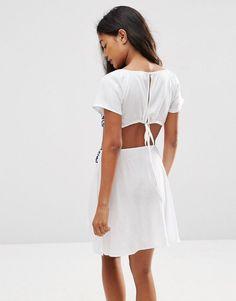 99c49e10b1a ASOS Mosaic Embroidered Cut Out Beach Dress - White