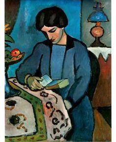 """""""Blue Girl Reading"""" / Auguste Macke (1887-1914)"""