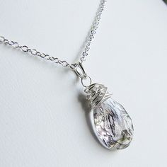 Moss Amethyst Necklace. Clear Gemstone Necklace. by OneLoomStudio, $45.00
