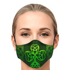 Look fashionable with this custom printed Celtic Knot and Shamrock face mask. It comes with easily adjustable ear loop straps to fit all face shapes, as well as a shapeable hidden nose clip for that perfect fit. The outer surface is printed on a premium breathable polyester fabric that won't irritate your skin. While the inner surface is made from a soft breathable cotton fabric. Celtic Tattoo For Women, Tattoos For Women, Irish Celtic, Celtic Knot, Irish Design, Celtic Designs, Ear Loop, Face Shapes, Fabric Design