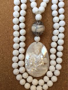 Tridacna Shell and Mother of Pearl Mala by ManiMantraMala on Etsy, $119.00