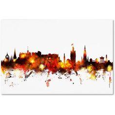 Trademark Fine Art Edinburgh Scotland Skyline Red Canvas Art by Michael Tompsett, Size: 30 x 47, Red