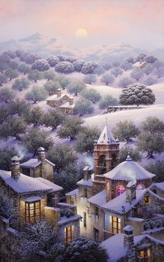 Snowy Landscape - by Luis Romero Spanish Painters, Spanish Artists, Good Night My Friend, Creation Photo, Virtual Museum, Naive Art, Winter Scenes, Landscape Art, Beautiful Landscapes